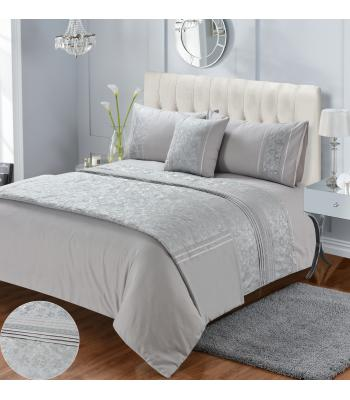 Diana Silver Embroidered Duvet Cover